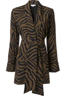 Layeur Blazer Com Estampa De Zebra - Marrom