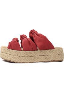 Tamanco Flatform Damannu Shoes De Corda Louane Vermelho Jaspe
