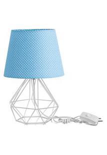 Abajur Diamante Dome Azul/Bolinha Com Aramado Branco