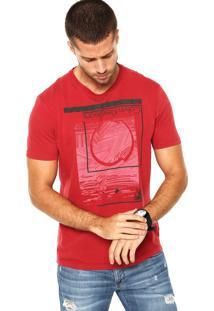 Camiseta Calvin Klein Estampa Camurça Vermelha