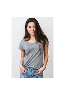 Camiseta Feminina Mirat Flor Na Mão Mescla