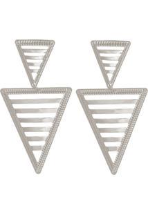 Brinco Prata Mil Com 2 Triângulos Vazados Prata