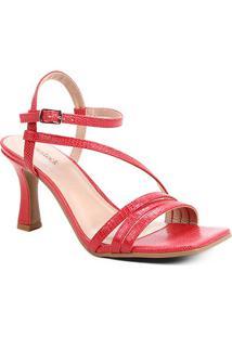 Sandália Shoestock Salto Sino Tiras Feminina - Feminino-Vermelho