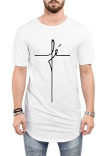 Camiseta Criativa Urbana Long Line Oversized Fé Religiosa Masculina - Masculino