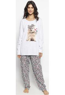 Pijama Com Calça Animal - Cinza & Verde Águamalwee