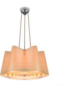 Pendente De Madeira Wood Para 4 Lâmpadas E27 35X80Cm Marrom Bronzearte