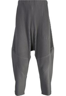 Homme Plissé Issey Miyake Drop-Crotch Pleated Trousers - Cinza