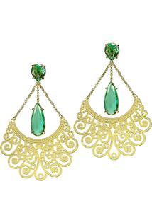 Brinco Kumbayá Longo Arabesco 2 Gotas Semijoia Banho De Ouro 18K Cristal Verde Esmeralda - Tricae