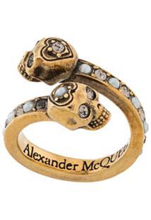 Alexander Mcqueen Anel Com Detalhe De Caveira - Dourado