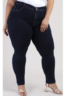 Calça Jeans Feminina Plus Size Sawary Super Skinny 360 Cintura Alta Azul Escuro