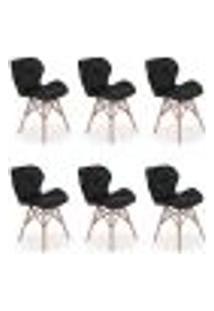 Kit 06 Cadeiras Charles Eames Eiffel Slim Wood Estofada - Preta