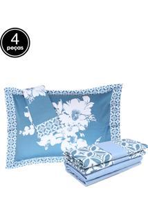 Jogo De Cama 4Pçs Casal Altemburg Essence Windsor 200 Fios Azul