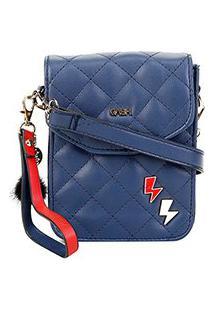 Bolsa Gash Mini Bag Matelassê Nah Cardoso Feminina - Feminino-Azul Escuro