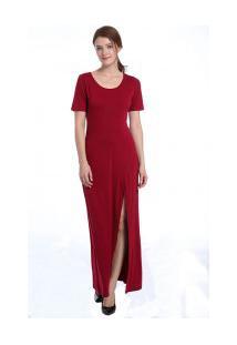 Vestido Longo Fenda Manga Curta - Vinho