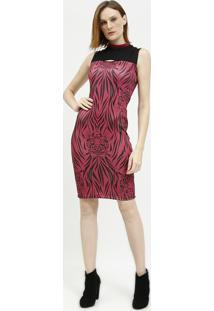 Vestido Com Recortes Vazados- Preto & Rosa- Tritontriton