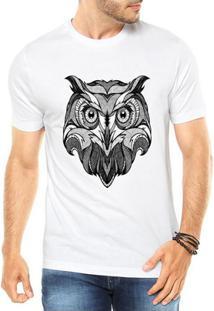 Camiseta Criativa Urbana Coruja Tattoo Style Illustration Tribal - Masculino-Branco