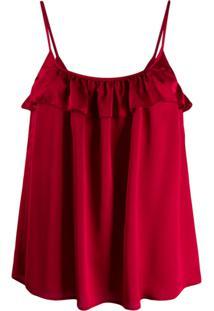 Guardaroba Blusa Solta Com Babados - Vermelho