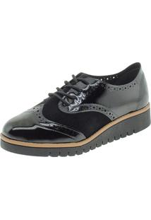 Sapato Feminino Oxford Beira Rio - 4174727 Preto/Camurça