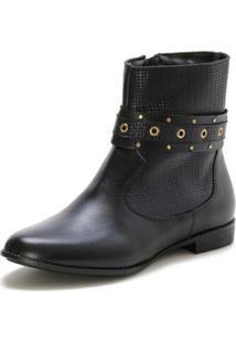 Bota Casual Couro Dia A Dia Doc Shoes Feminina - Feminino-Preto