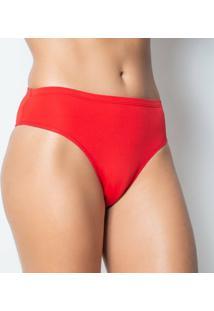 Calcinha Click Chique Básica Elástico Embutido - Feminino-Vermelho