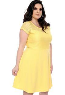 Vestido Renda Vazado Amarelo Plus Size