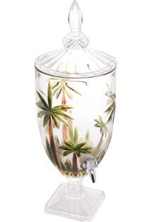 Dispenser/Suqueira Cristal Ecológico (Livre De Chumbo) Com Pé E Tampa Palm Tree Handpaint 4L