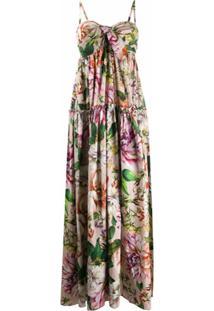 Dolce & Gabbana Vestido Longo Com Estampa Floral - Rosa