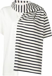 Jw Anderson Camiseta Com Detalhe De Cachecol Listrado - Branco