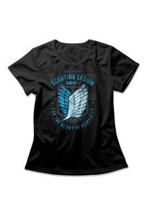 Camiseta Feminina Attack On Titan Scouting Legion Preto