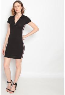 Vestido Canelado Com Zíper- Preto- Le Fixle Fix