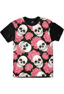 Camiseta Bsc Pink Rose Skull Sublimada Preto