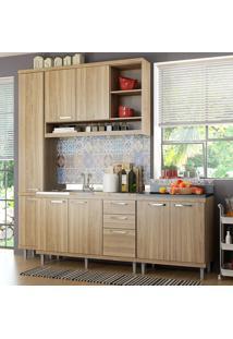 Cozinha Compacta 8 Portas Para Pia Com Balcão 5812 Argila - Multimóveis