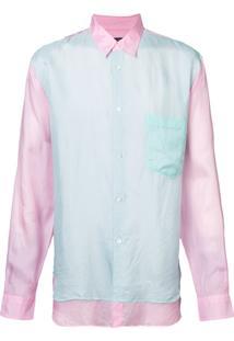 Comme Des Garçons Homme Plus Camisa Com Sobreposição - Pink & Purple