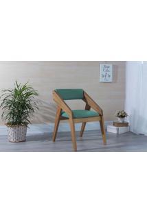 Poltrona Para Sala De Estar Turquesa Quadratto - Verniz Amendoa \ Tec.950 - 55X49X78 Cm