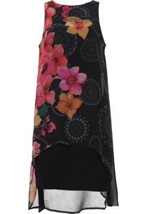 Vestido Desigual Curto Floral Preto/Rosa