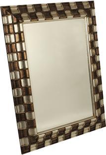Espelho Com Moldura Xadrez Gold Silver