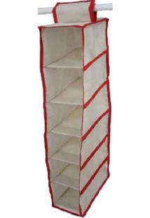 Organizador Cabideiro Vertical Organibox De 92X15X28Cm - Vermelho