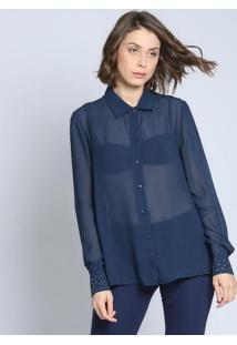 Camisa Lisa Com Termocolantes- Azul Marinho - ÊNfaseãŠNfase