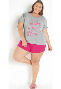 Pijama Ombro Vazado Com Cordão Mescla/Rosa