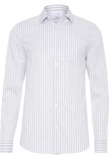 Camisa Masculina Sport Regular Listras - Branco