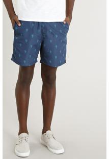 Short Masculino Estampado De Cactos Azul Marinho