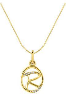 Pingente Letra R Ouro Amarelo E Diamantes 15 Mm