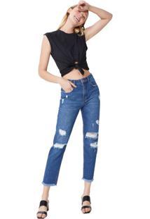 Calça Jeans Slim Com Puídos