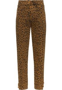 Saint Laurent Calça Jeans Animal Print - Marrom