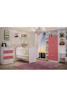 Quarto De Bebê Completo Leãozinho Com Guarda Roupa 2 Portas Cômoda E Berço Siena Móveis Branco/Rosa