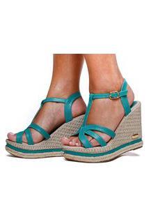 Sandália Plataforma Anabela Sb Shoes Ref.3230 Verde
