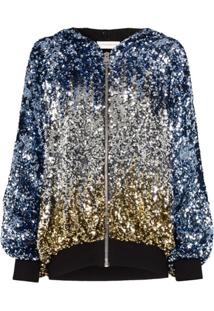 Faith Connexion Sequin-Embellished Hooded Jacket - Azul