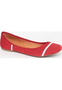 Sapatilha Texturizada Com Listra- Vermelha & Brancamya Haas