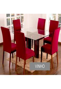 Kit Capa De Cadeira Lisa 2 Peças Vinho