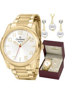 Kit Relógio Champion Feminino Elegance Com Colar E Brincos Cn27554W